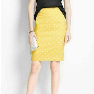 Ann Taylor Yellow Polka Dot Pencil Skirt Size 4